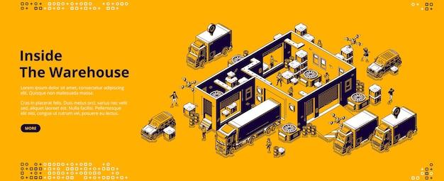 倉庫内のアイソメトリックランディングページ 無料ベクター