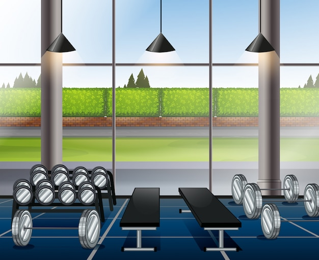 Inside weightlifting room with benches Free Vector