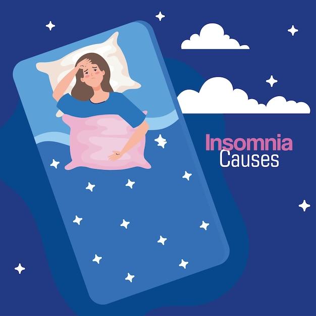 不眠症は枕と雲のデザイン、睡眠と夜のテーマでベッドの上の女性を引き起こします Premiumベクター