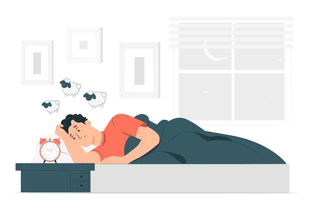 Illustrazione di concetto di insonnia Vettore gratuito