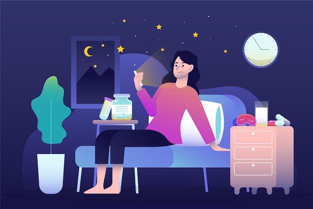 女性と電話の不眠症の概念 無料ベクター