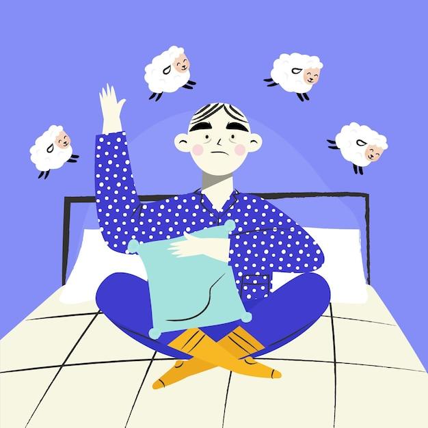 Insomnia illustration concept Free Vector