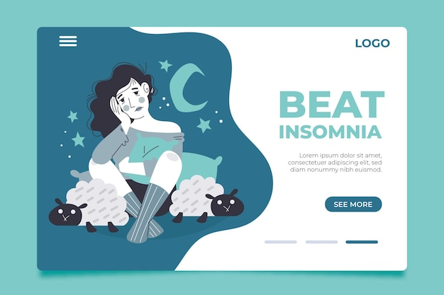 Insomnia landing page concept Free Vector