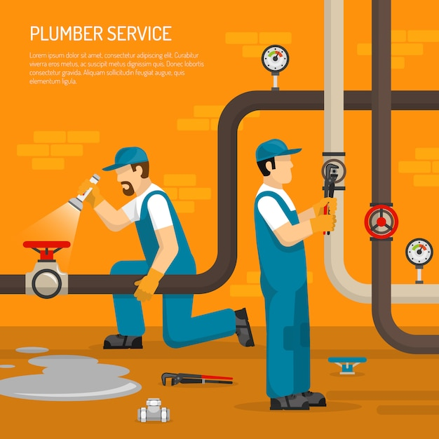 Inspection of pipeline illustration Free Vector