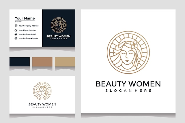Inspiration beautiful lady logo design template with line art style and business card design Premium Vector