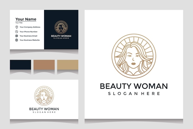 Inspiration. feminine beauty woman logo design template with line art style and business card design Premium Vector