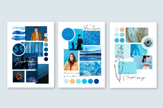 Inspiration mood board template in blue Free Vector