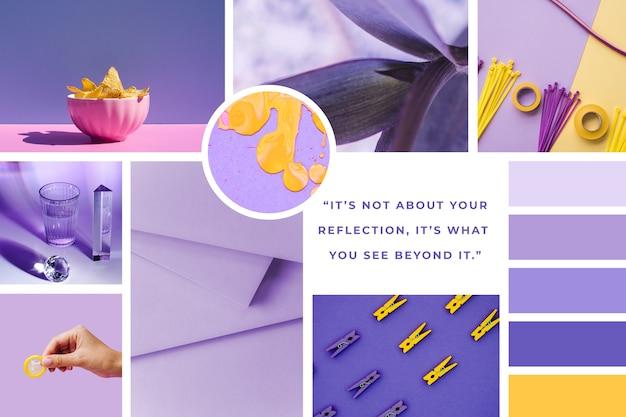 紫のインスピレーションムードボードテンプレート 無料ベクター