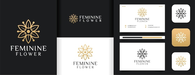 Inspirational feminine line leaf flower logo  set Premium Vector