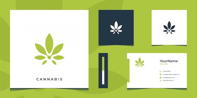 Inspirational green cannabis logo and business card Premium Vector