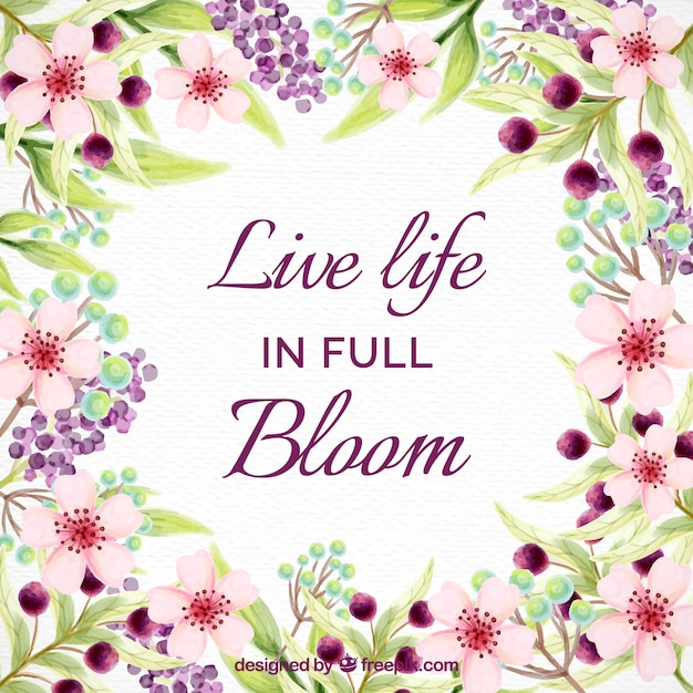 Inspirational life quote with watercolor flowers vector free inspirational life quote with watercolor flowers free vector voltagebd Image collections