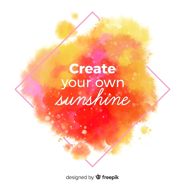 Inspirational message with watercolor lettering Free Vector