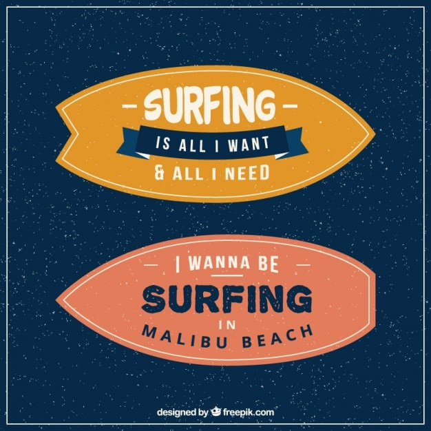 Inspirational phrases in vintage\ surfboards
