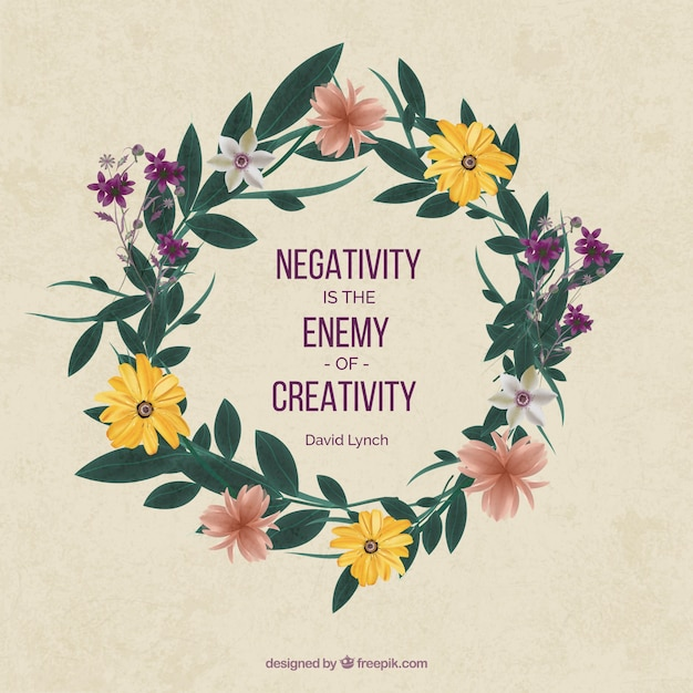 Inspirational Quote About Creativity With Pretty Floral Wreath Vector Free Download
