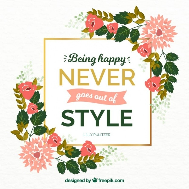 Inspirational Quote About Happiness With Floral Details
