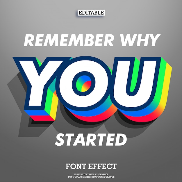 Inspirational quote with cool 3d extrude font effect double color and shadow Premium Vector