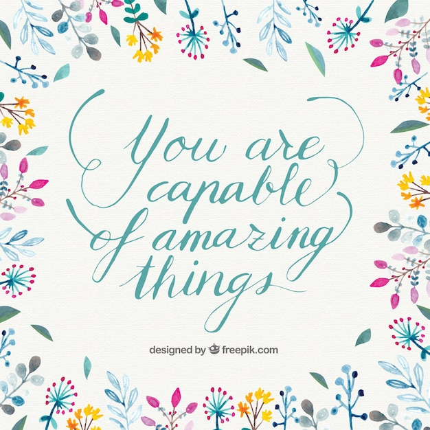 Inspirational quote with hand drawn flowers vector free download inspirational quote with hand drawn flowers free vector voltagebd Image collections