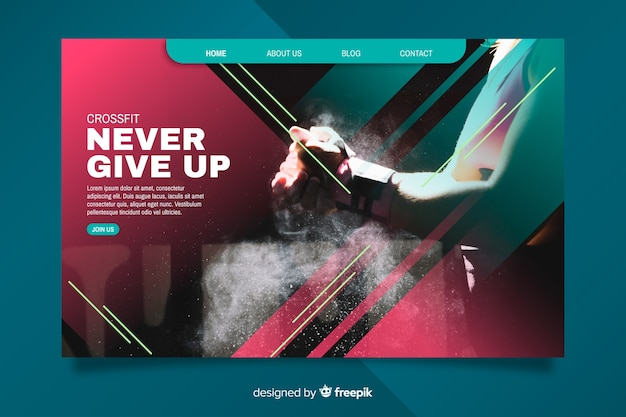 Inspirational sport landing page Free Vector