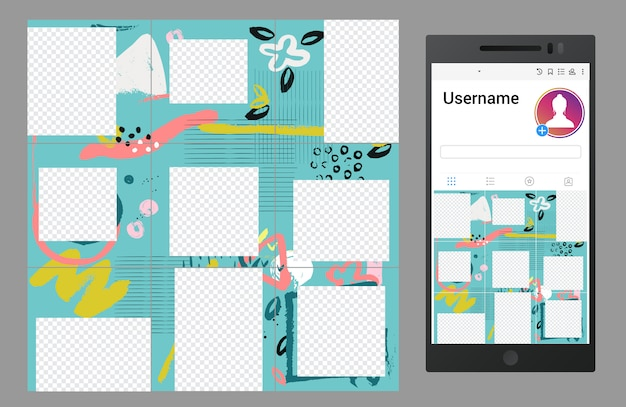 Inspired by instagram  social media puzzle template Premium Vector