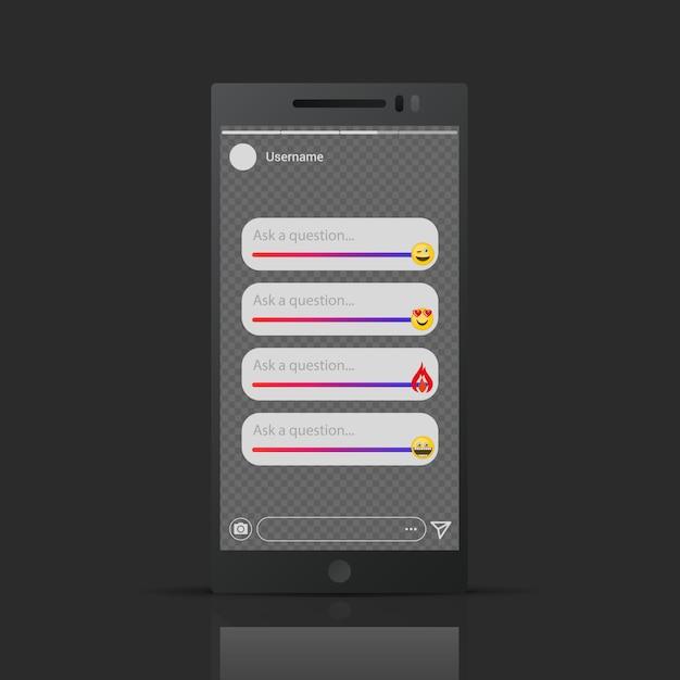 인스 타 그램에서 영감을-이야기 이모티콘 슬라이더 템플릿 프리미엄 벡터