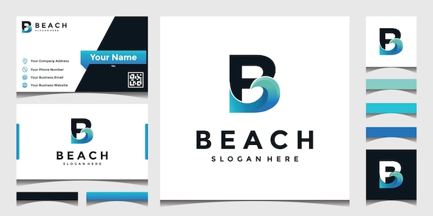 Inspired logo b with sea waves Premium Vector