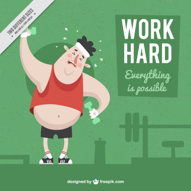 Inspiring background with boy in a gym Free Vector