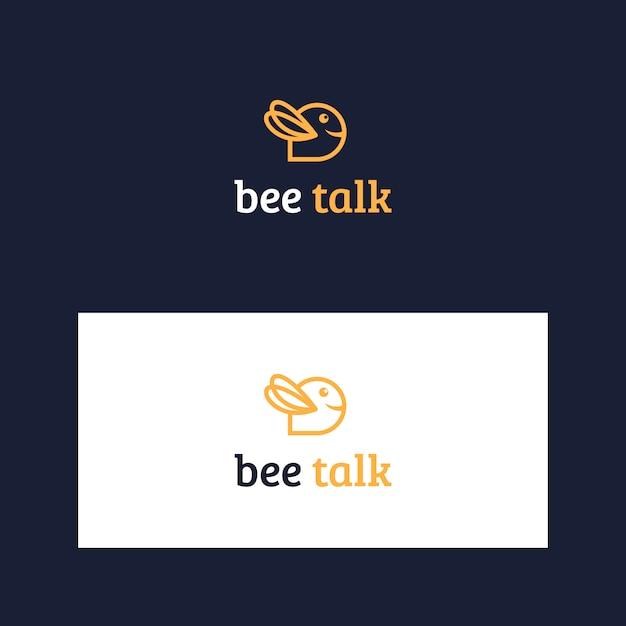 Inspiring bee and talk logo template Premium Vector