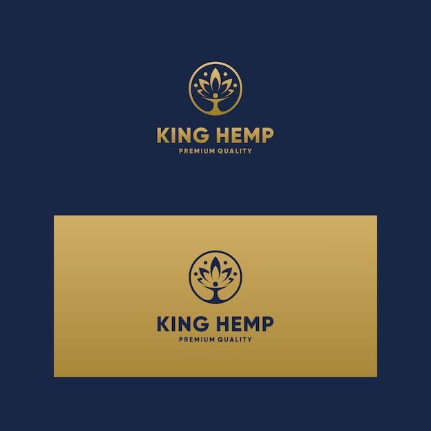 感動的なロゴキングcbd、マリファナ、大麻 Premiumベクター