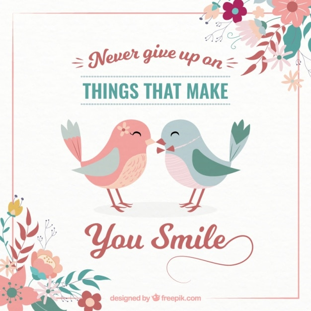 Inspiring Quote Never Give Up With Lovely Birds In Vintage Style Unique Download Inspiring Images