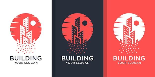 Набор вдохновляющих логотипов недвижимости Premium векторы