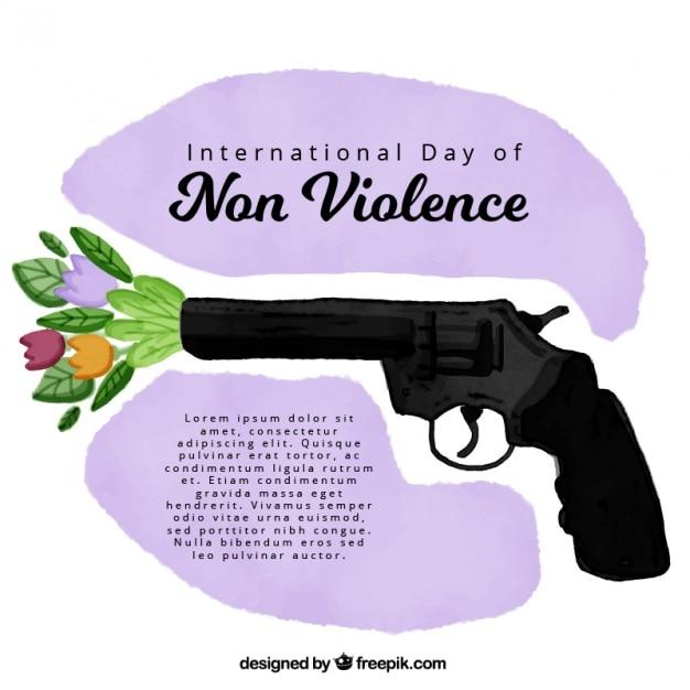 Inspiring watercolor background of gun shooting flowers  Free Vector