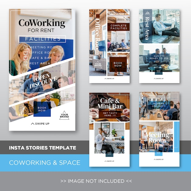 Insta stories template for coworking and space rent Premium Vector