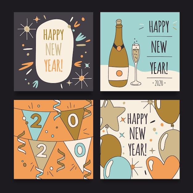 Почтовый пакет instagram на новый год 2020 Бесплатные векторы