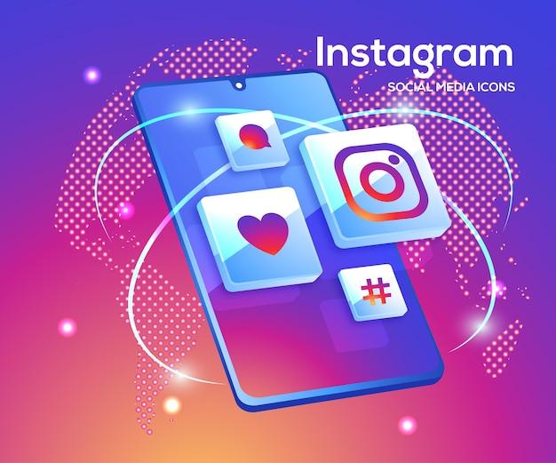 スマートフォンのシンボルとinstagramの3dソーシャルメディアアイコン Premiumベクター
