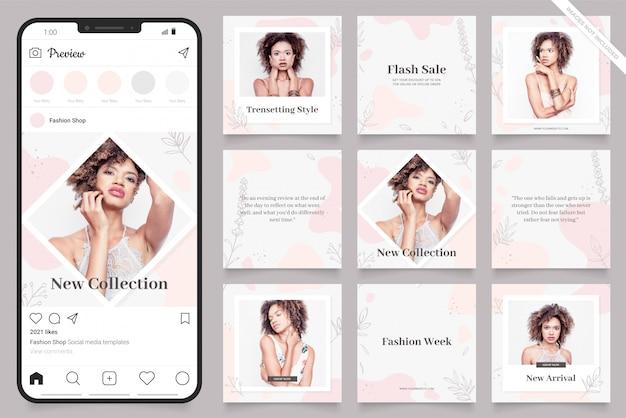 Instagram и facebook квадратная рамка головоломки плакат. пост в социальных сетях для продвижения моды Premium векторы