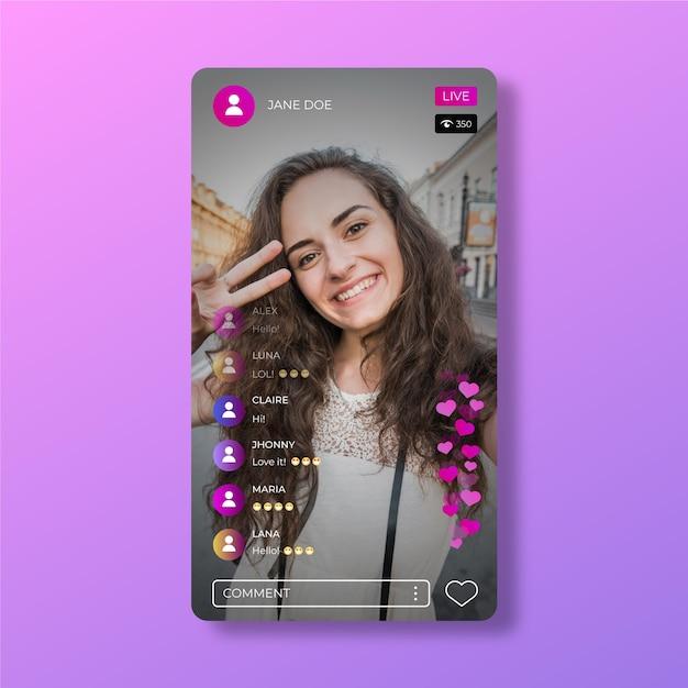 Instagram 앱 라이브 스트림 인터페이스 템플릿 프리미엄 벡터