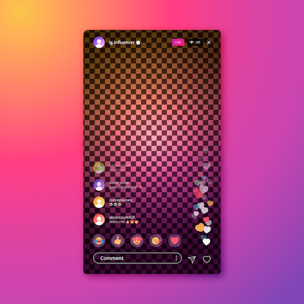 Instagram app template live stream interface Free Vector