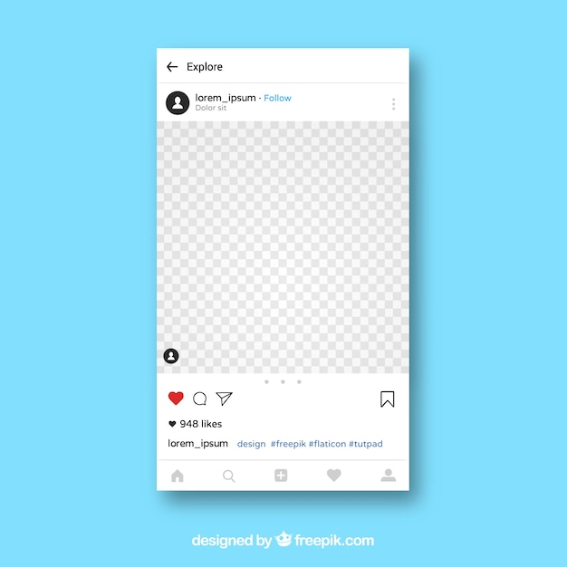Instagram app template Free Vector