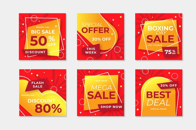 Instagram boxing day sale post collection Free Vector