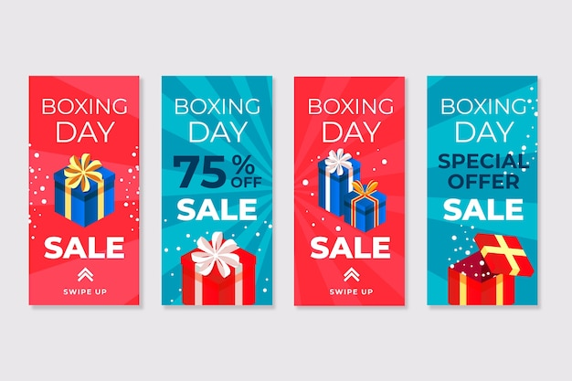 Instagram boxing day sale story set Free Vector