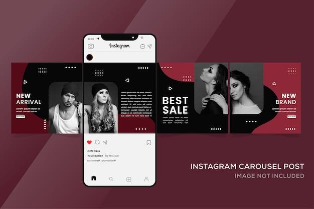 패션 판매 프리미엄에 대한 Instagram 회전 목마 배너 템플릿 프리미엄 벡터