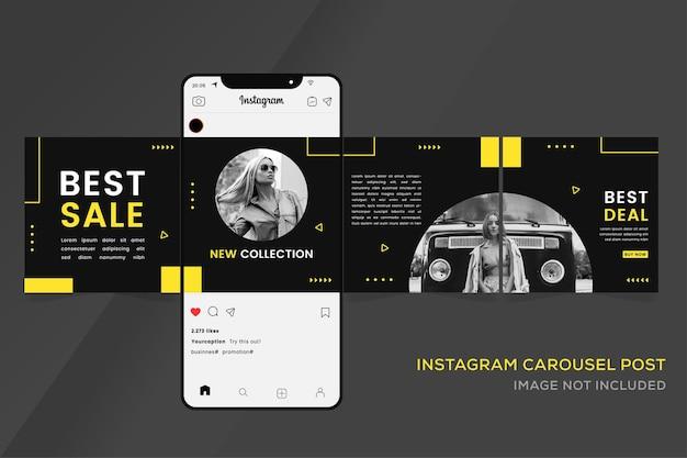 소셜 미디어 프리미엄을위한 Instagram 회전식 배너 템플릿 프리미엄 벡터