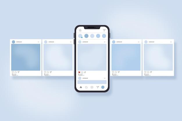 スマートフォンとのinstagramカルーセルインターフェース 無料ベクター