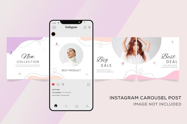 패션 판매 프리미엄에 대한 Instagram 회전 목마 템플릿 배너 프리미엄 벡터