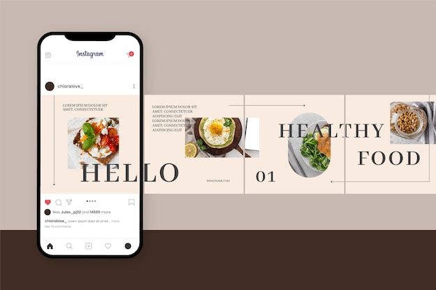 Instagram carousel templates Free Vector