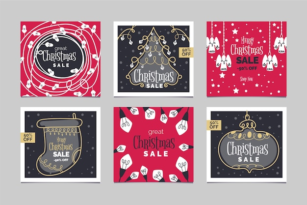 Instagram christmas sale post collection Free Vector