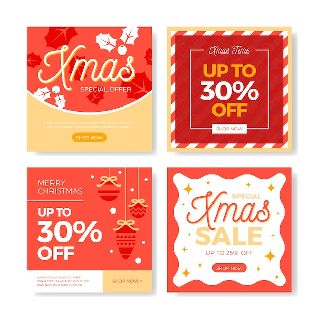 Instagram christmas sale post set Free Vector