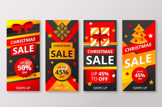 Instagram christmas sale story collection Free Vector