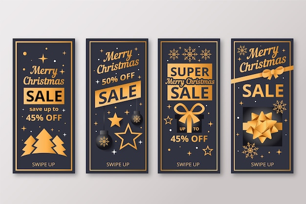 Instagram christmas sale story set Free Vector