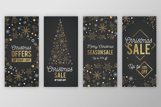 Instagram christmas story with golden trees and snowflakes Free Vector
